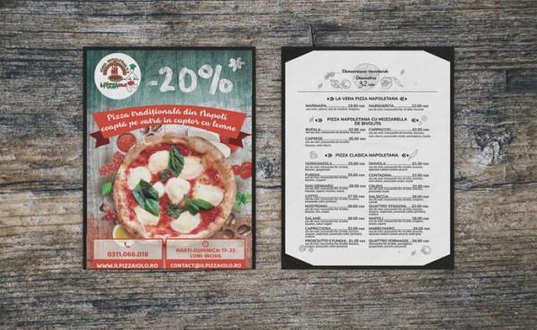 """Flyer meniu pentru Pizzeria """" Pizza Iolo"""""""